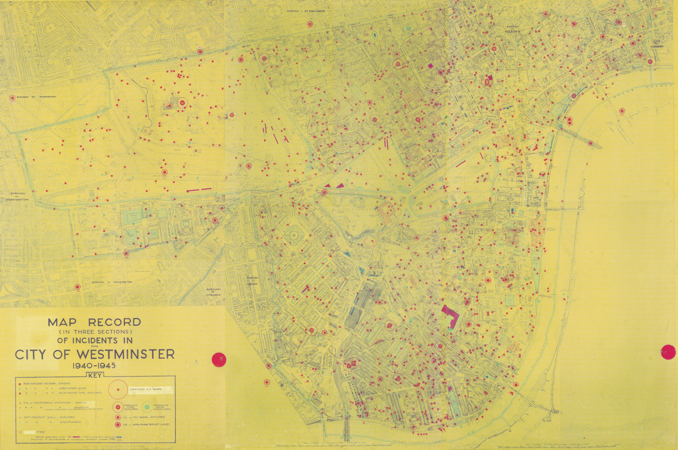 Bomb Map Record Of Incidents In The City Of Westminster - London map 1945