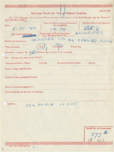 Photo:ARP Message Form, Great Peter Street, November 1940