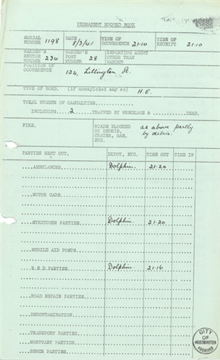 Photo:ARP Permanent Record Book, Lillington Street SW1, 8 March 1941