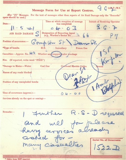 Photo:ARP Message Form. 11 May, 1941