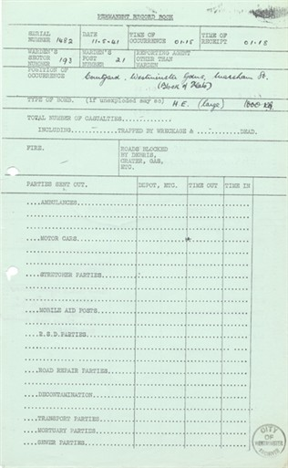 Photo:Westminster Gardens, 11 May 1941: Incident Report