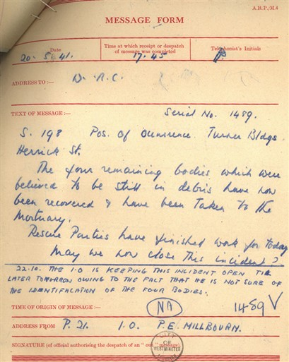 Photo:ARP Message Form. 20 May, 1941