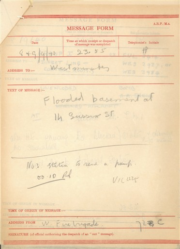 Photo:ARP Message Form, Sussex Street, 1940