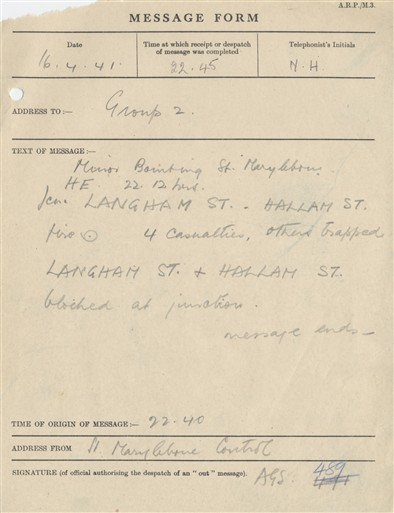 Photo:St Marylebone ARP Message, 16 April 1941