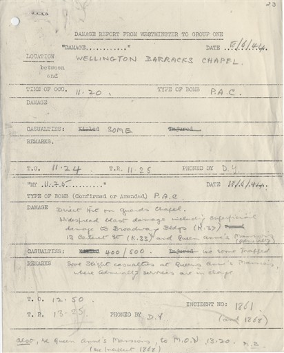 Photo:ARP Damage Report, Guards Chapel, 18 June 1944