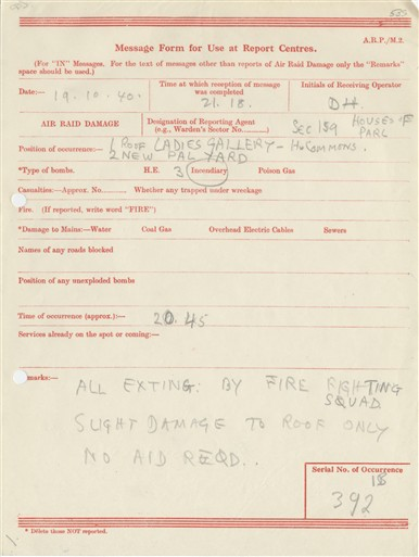 Photo:ARP Message Form , House of Commons, 1940