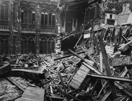 Photo:Destroyed interior of the House of Commons Chamber. May 1941