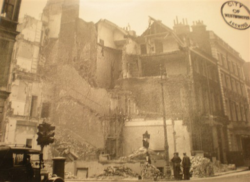 Photo:Damage to 27-28 Grosvenor Street W1, October 1940