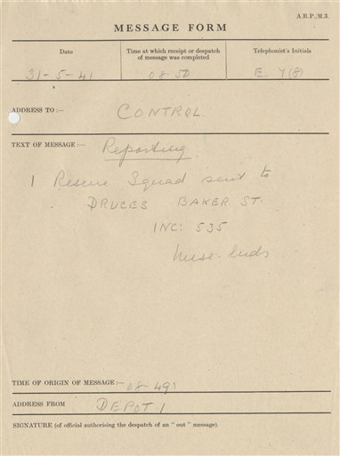 Photo:St Marylebone ARP Message Form, Druces Depository, 1941
