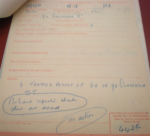 Photo:ARP Message, 90 Claverton Street, 23 September 1940