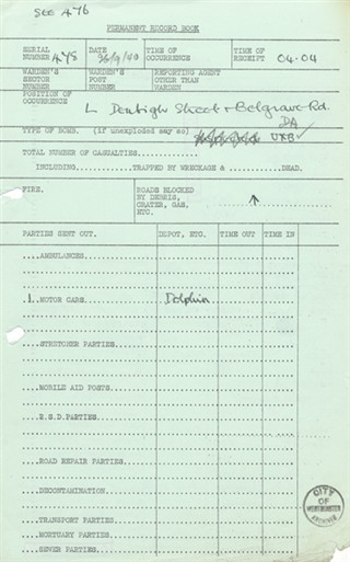 Photo:ARP Permanent Record Book, Denbigh Street, 29 September 1940