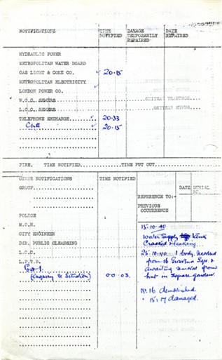 Photo:ARP Permanent Record Book, 15 Grosevenor Square,14  October 1940