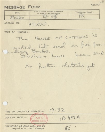 Photo:ARP Message Form, House of Commons, 1940