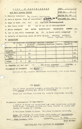 Photo:ARP Damage Report, St James's Residences, 26 October 1940