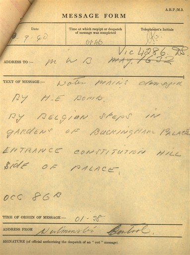 Photo:Message form describing damage by H.E. bomb on 9 Sept 1940