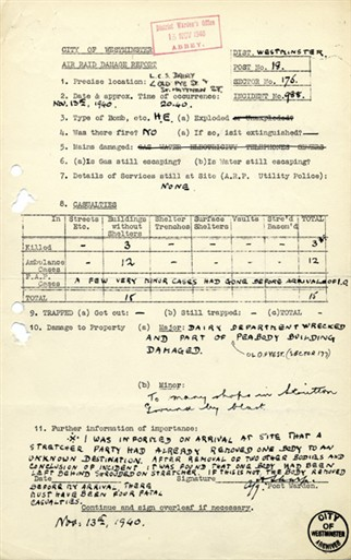 Photo:Old Pye Street, 13 November 1940: Incident Report