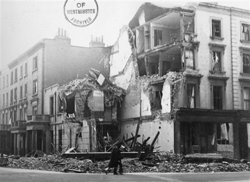 Photo:Sussex Street bomb damage, 7-8 September 1940