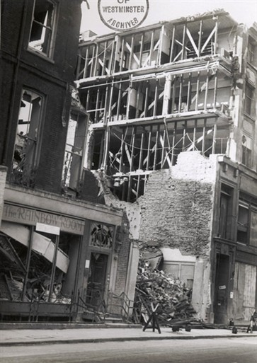 Photo:Ruins of the damaged building at 45 Albemarle Street