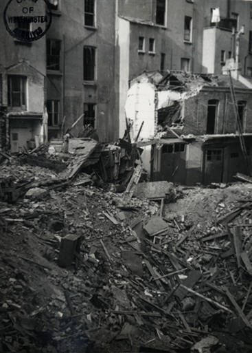 Photo:The rubble-strewn remains of Oranmore Mews, May 1941