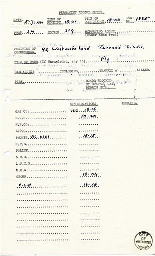 Photo:Permanent Record Sheet- Westmoreland Terrace, 1944