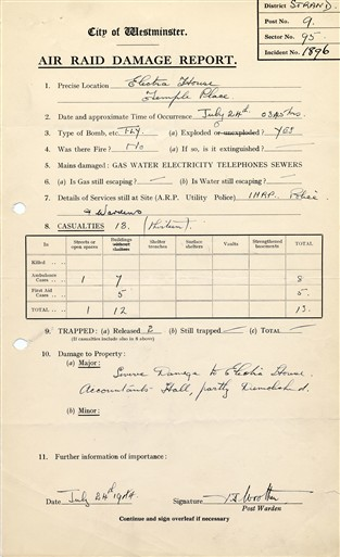 Photo:Damage Report, Electra House, 24 July 1944