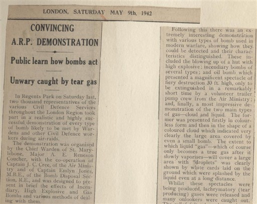 Photo:Excerpts from a 1942 article from The Record and West London News about an ARP demonstration where the crowd was exposed to tear gas