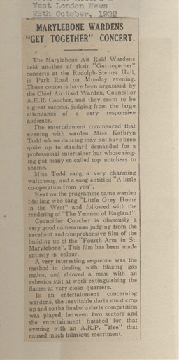 Photo:1939 article from The Record and West London News about a concert hosted by Marylebone air raid wardens