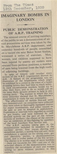 Photo:1939 article from The Times describing a public demonstration of ARP training