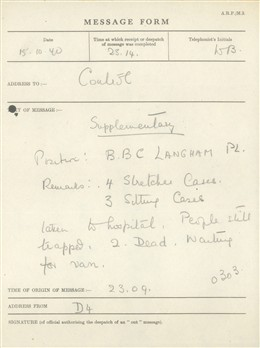 Photo:St Marylebone ARP Message Form , BBC Broadcasting House, 15 October 1940