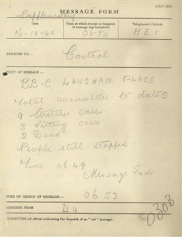 Photo:St Marylebone ARP Message Form, BBC Broadcasting House, 16 October 1940