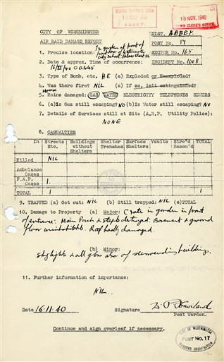 Photo:Air Raid Damage Report, Westminster City School, 16 November 1940