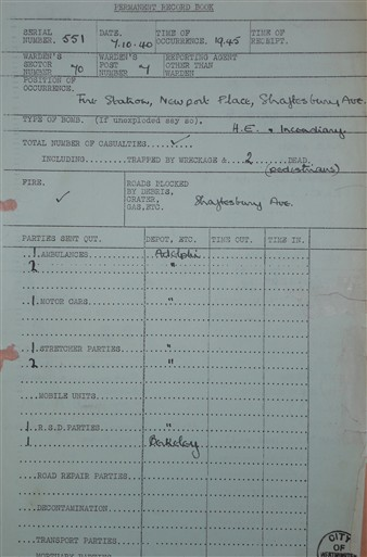 Photo:Incident file, Shaftesbury Avenue Fire Station, 7 October 1940
