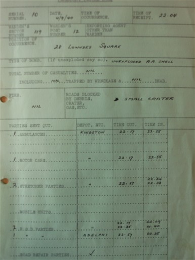 Photo:ARP report, 28 Lowndes Square, 4 September 1940
