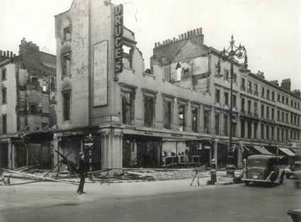 Photo:Bomb damage to Druces Depository, 1940
