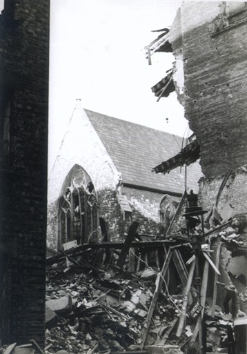 Photo:Damaged area around St Matthew's Church and St Ann's Lane SW1, 11 November 1940