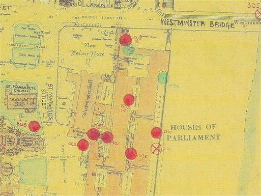 Photo:Bomb Map: Old Palace Yard, Westminster