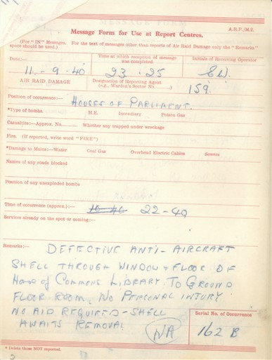 Photo:ARP Message Form, House of Commons, September 1940