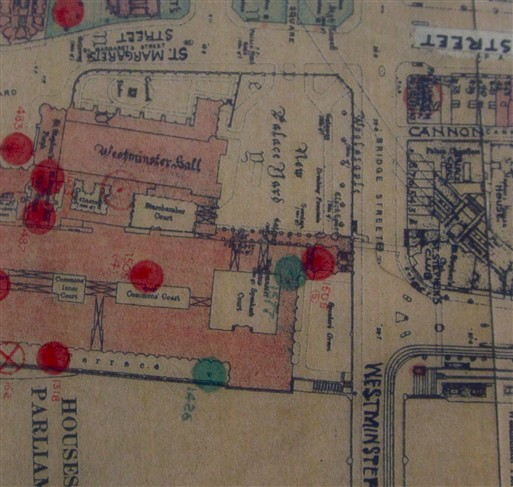 Photo:Bomb Map: detail of the area shows where Westminster Hall was hit