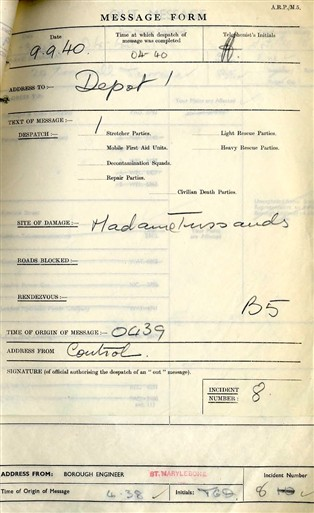 Photo:ARP Message Form, Madame Tussauds, 9 September 1940