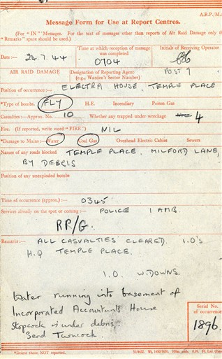 Photo:Message Form for Electra House, 24 July 1944