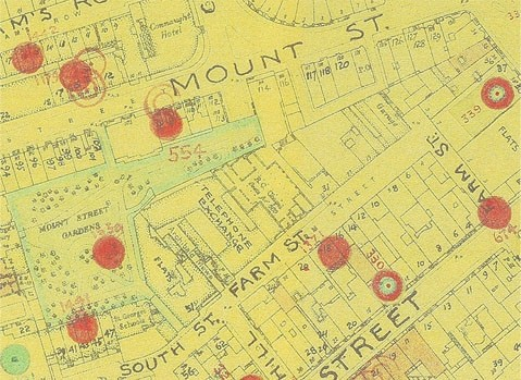 Photo:Bomb Map: Mount Street/Farm Street