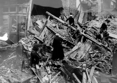 Photo:Rescue squad working in the wreckage of the Orleans Club, February 1944