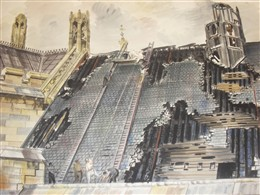 Photo:View of damage to the roof of Westminster Hall (1941) by Vivian Pitchforth