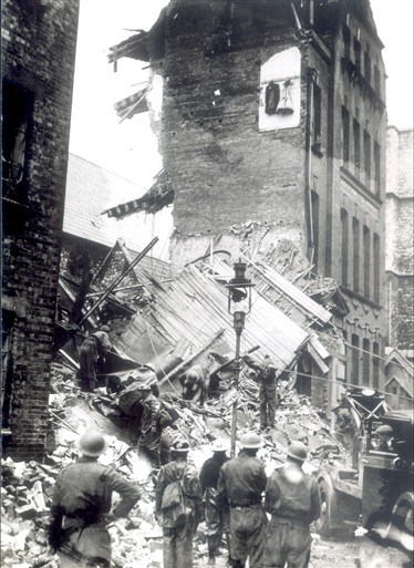 Photo:Bomb damage to Abbey Printing Works, St Ann's Lane, 11 November 1940