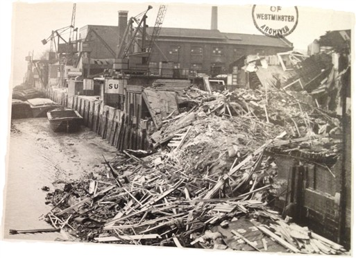 Photo:Damage to the Embankment and Hovis Flour Mill, December 1940