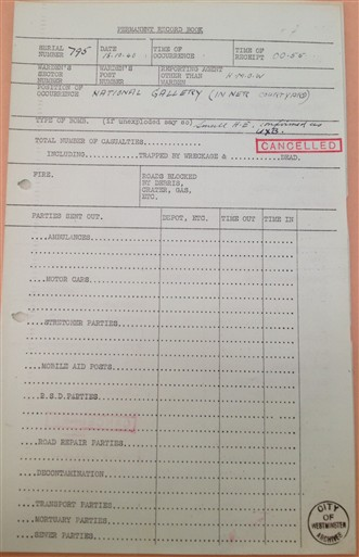 Photo:Incident report No. 795, National Gallery, 18 October 1940
