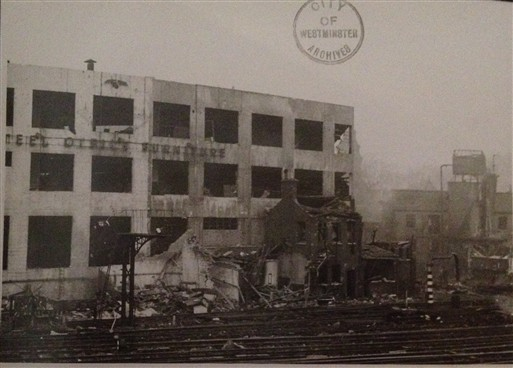 Photo:Damage to Southern Railway, rear of Art Metal Company, December 1940