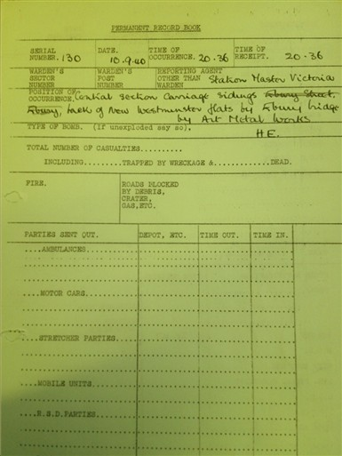 Photo:Victoria Station Incident Report, 10 September 1940