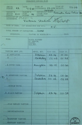 Photo:Victoria Station Incident Report, 7 September 1940
