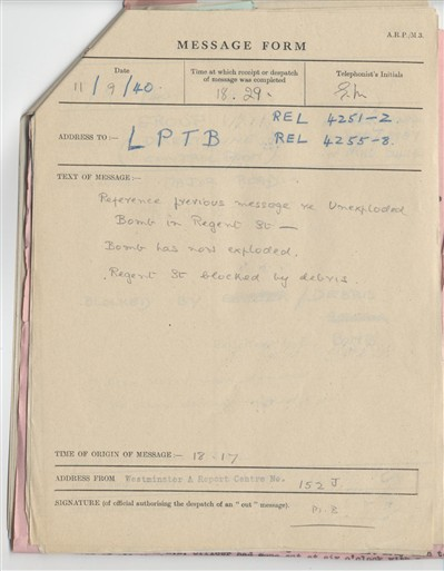 Photo:ARP Message form describing detonation of the Regent Street UXB